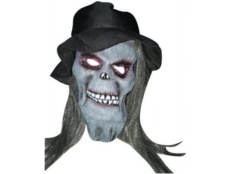 Máscaras Halloween - novidades - Máscara Caveira com Chapéu e Cabelo