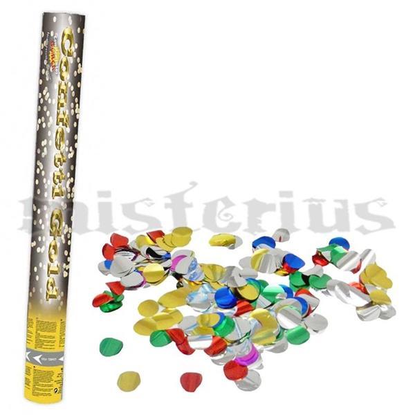 Lança Confetis Metalizado Redondo Multicor