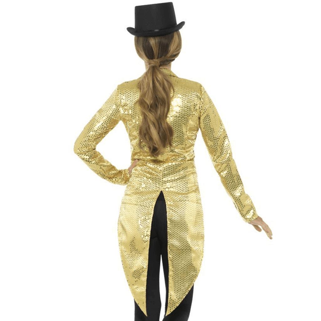 Casaco Dourado Comprido com Lantejoulas  88c711e6fc8