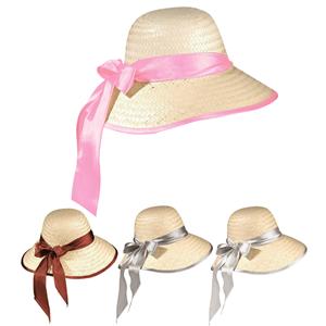 Chapéu de Palha com Fita em Tecido Acetinado 43d10ba0502