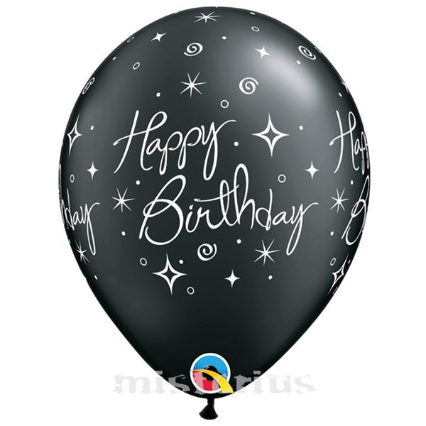 Balao Happy Birthday Preto Latex,6 unid