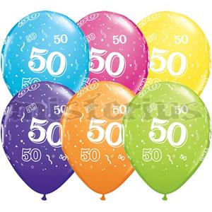 Balao Latex 50 Anos Multicor 6 Unid.