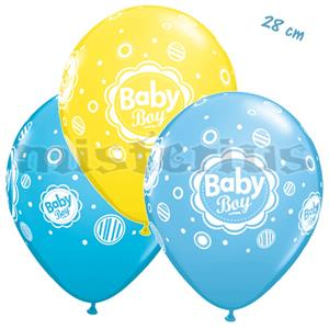 Balões Baby Boy Dots Latex 6 Unid.