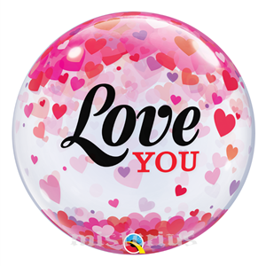 Bubble Love You Confetis Corações